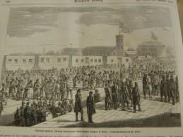 Schleshwig-Holstein -  Österreichisher Truppen In BERLIN  - Train Railway -Bahnhof -  Wood Engraving  1864 ILZ1864.120 - Historische Documenten