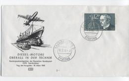 SARRE Yvert N° 414  Rudolf DIESEL Et Moteur  Carte Avec Oblitération    1er J 18-3-58 - Saargebiet