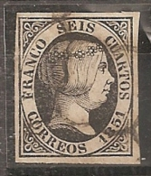 ESPAÑA 1851 - Edifil #6 - Precio Cat. €4.50 - VFU - Gebraucht