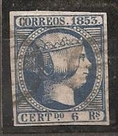 ESPAÑA 1853 - Edifil 021 Adelgazamiento) - VFU - 1850-68 Regno: Isabella II