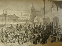 Empfang Der Dänischen Kriegstrophäen Am Nordbahnhofe In WIEN - Bahnhof  Gare - Wood Engraving 1864 ILZ1864.173 - Historische Documenten