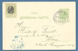 SERBIA  - INTERO   POSTALE    5 + 5  PER  VIENNA  WIEN  - 1903 - Serbia