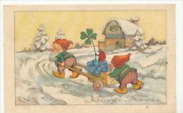 Bonne Année. Lutins, Brouette, Myosotis,coccinelle Et Trèfle. 1943 - Nouvel An