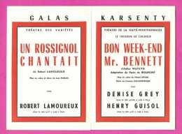 Galas Karsenty - Le Programme - Un Rossignol Chantait Avec Robert Lamoureux - Rhinocéros - Etc ... - Saison 1960-1961 - Programmes