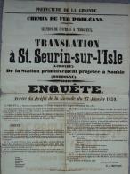 33 - SAINT SEURIN SUR ISLE- PREFECTURE DE LA GIRONDE-CHEMIN DE FER D' ORLEANS- COUTRAS A PERIGUEUX- STATION SOUBIE 1859- - Affiches