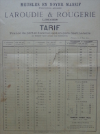 87 - LIMOGES - AFFICHETTE TARIFS MEUBLES EN NOYER MASSIF- LAROUDIE & ROUGERIE -1892 - Affiches