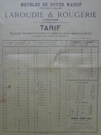 87 - LIMOGES - AFFICHETTE TARIFS MEUBLES EN NOYER MASSIF- LAROUDIE & ROUGERIE -1892