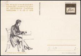 "Poland 1970, Postal Stationery ""VIII International Piano Competition. Frederic Chopin"" Cp 451, Mint - Interi Postali"