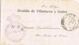 5131. Carta VILLANUEVA Y GELTRU (Barcelona) 1917. Franquicia Ayuntamiento - Cartas