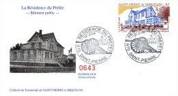 SAINT PIERRE & MIQUELON. N°584 Sur Enveloppe 1er Jour (FDC) De 1993. Bâtiment Public/Résidence Du Préfet/Canon. - Arquitectura
