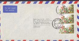 Kenya Airmail Par Avion NAIROBI 1986 Cover Brief To Denmark 3-Stripe 5 Sh Flower Blume - Kenia (1963-...)