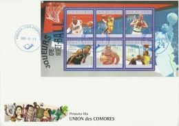 cm10211aF Comores 2010 Basketball s/s FDC Michel:2865-2870