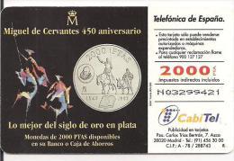 TARJETA CON VISUAL MONEDA 2000PTAS DEL QUIJOTE - Sellos & Monedas