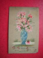 CPA SORTE DE PLASTIQUE RHODOÏD ?? PEINTURE FAITE MAIN  MES MEILLEURS SOUHAITS POUR VOTRE FETE    VOYAGEE 1908 TIMBRE - Cartes Postales