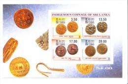 Sri Lanka Miniature Sheet 2000 - Indigenous Coinage Of Sri Lanka - 4v Stamp - Sri Lanka (Ceylon) (1948-...)