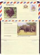 UGANDA, WWF,MINT AEROGRAMME, GIRAFFE, GORILLA, ELEPHANT, RARE ! - W.W.F.
