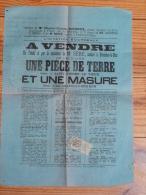 Saint Pierre Le Vieux .Affiche Notariale Vente D Une Pièce De Terre Et Masure.30cmpar40cm.verte - Affiches