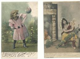 """4 CP  Couleur  Fantaisies """" Jeunes Filles """" Après 1900....à Voir.. - Unclassified"""