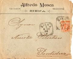 1902 LETTERA INTESTATA CON ANNULLO SIENA - 1900-44 Vittorio Emanuele III