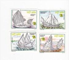 Vietnam 1999 Boats Imperforated Set 4 MNH - Vietnam