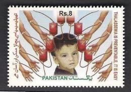 PAKISTAN 2012 World Thalassemia Day, Disease, Health, Child, Hands, Blood, 1v MNH - Pakistan