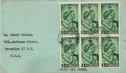 1948  Silver Wedding Issue ½d. SG 134  X6  FDC To USA - Gibraltar