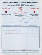 1936 HUILES GRAISSES FRANCO AMERICAINES ASPROL-OIL ASPROLEINE VOITURES CHARLES FAUROT 8 RUE GORGES DE LOUP LYON-VAISE - France
