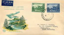 1959 2 New Values In First Definitive Series On WCS  FDC - Norfolk Island