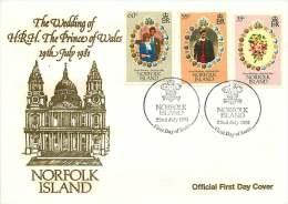 1981  Prince Of Wales's Wedding FDC - Norfolk Island