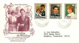 1981  Prince Of Wales Wedding To Lady Diana Complete Set On FDC To USA - Niue