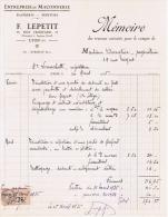 1935 ENTREPRISE DE MACONNERIE PLATERIE PEINTURE F. LEPETIT 38 RUE JAQUARD ENTREPOT 7 IMPASSE GORD LYON - France