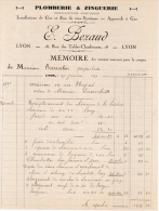 1931 PLOMBERIE & ZINGUERIE E. BEZAUD 18 RUE DES TABLES CLAUDIENNES LYON INSTALATIONS DE GAZ ET EAU DE TOUS SYSTEMES - France