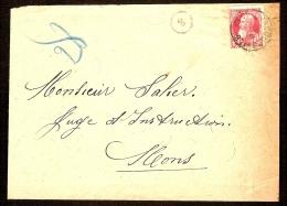 Nr. 74 Op Brief Met Afstempeling Te BRACQUEGNIES En Verzending Naar MONS In 1913 ! Inzet Aan 10 € ! - 1905 Grosse Barbe