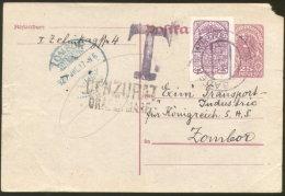 "BADEN B WIEN POSTAL CARD ""T"" TO ZOMBOR CENSORED ORADEA MARE ROMANIA 1920 - Briefe U. Dokumente"