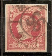 ESPAÑA 1860/61 - Edifil #53 Rueda De Carreta 56 De Santiago - VFU - 1850-68 Reino: Isabel II