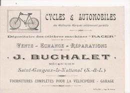 SAINT GENGOUX LE NATIONAL (S ET L) CARTE DE VISITE ANCIENNE  MAGASIN DE CYCLES ET AUTOMOBILES J BUCHALET MECANICIEN 1917 - Visiting Cards