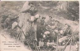 GROUPE DE CHASSEIURS ALPINS DANS LES ALPES 1503 (BELLE ANIMATION) 1906 - Manovre