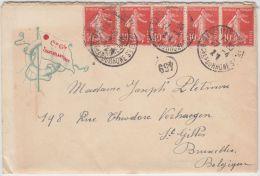 14032 COMPAGNIE TRANSATLANTIQUE PAQUEBOT Cachet Marseille Vers Saint Gilles (Bruxelles) 27/04/1921 (?) - 1906-38 Semeuse Camée