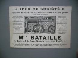 BILLARDS, JEUX - MAISON BATAILLE, PARIS -  Vers 1920- CARTE PUB COMMERCIALE - Lots, Séries, Collections