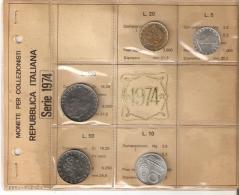 SERIE DE MONEDAS DE ITALIA DEL AÑO 1974 SIN CIRCULAR-UNCIRCULATED (COIN-MONEDA) - 1946-… : República