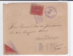 HONDURAS - 1903 - RARE 1/2 TIMBRE UPU Sur ENVELOPPE De TEGUCIGALPA Pour SANTO DOMINGO - Honduras