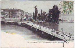 GENEVE . PONT DES BERGUES ET ILE ROUSSEAU. Editeur E. HAISSLY - GE Geneva