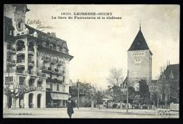 Cpa  De Suisse  Lausanne Ouchy La Gare Du Funiculaire Et Le Château      CML9 - VD Vaud