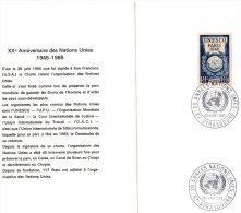 Document XX° Anniversaire Des N . U . Strasbourg Le 23 / 24 /10 1965 - Lettres & Documents