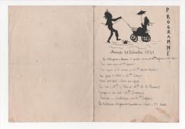 """- Programme D'une Fête D'école """"chants Et Poesies"""" 28 Décembre 1921, Dessin Et Manuscrit - Programmes"""
