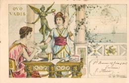 ILLUSTRATEUR G.G. BRUNO QUO VADIS ROME ANTIQUE TEMPLE ROMAIN COUPLE FILEUSE 1900 ROMA ITALIA - Illustrators & Photographers
