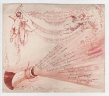 - 7 Menus Dessin à La Main Et Manuscrit Pour Un Baptême Du 19 Avril 1908 (angelots, Dessins Humoristiques) - Menus