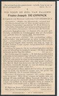 Oud Doodsprentje Geneesheer Frans Joseph DE CONINCK - Eppegem 1854 - Grimbergen 1920 - Religion & Esotericism