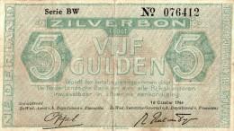 Netherland,5 Gulden Silverbon,1944,P.63.2,Mev.. 22-1c,Av17 -1b.2 ,as Scan - [2] 1815-… : Koninkrijk Der Verenigde Nederlanden