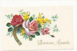 Mignonnette. Bonne Année. Fer à Cheval, Roses, Mimosa. 1957. Dorée - Nouvel An